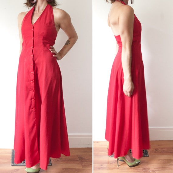 1960's Red Button Up Halter Maxi Dress / Vintage R