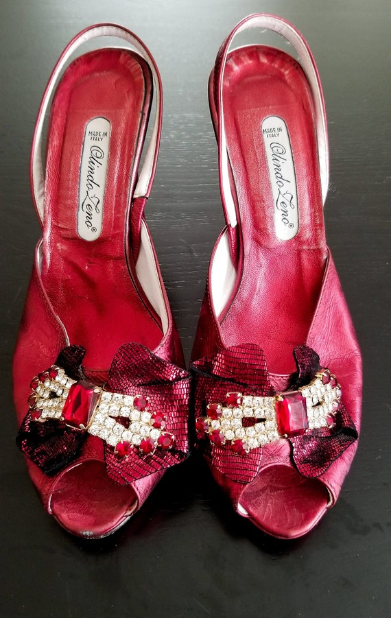 1970's Red Leather Rhinestone Heels  / Vintage Rub