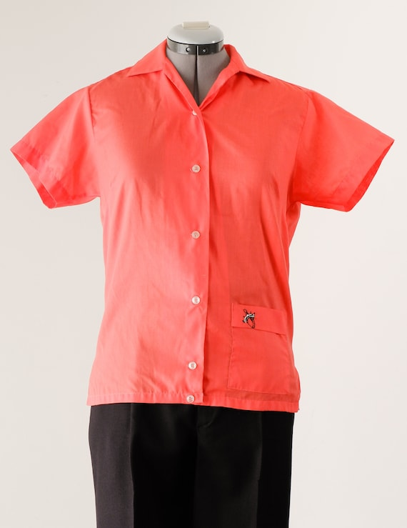 1960's Pink Bowling Shirt / Vintage Button Up Blou