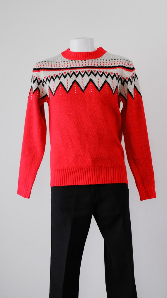 1970's Red and White Nordic Sweater / Vintage Pull