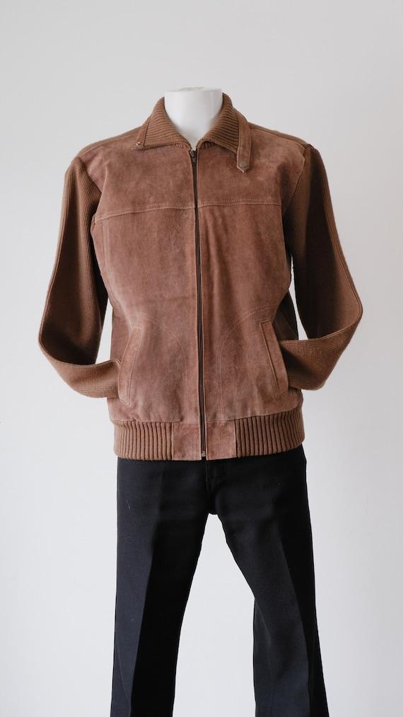 1970's Beige Suede Jacket / Vintage Sears Knit Car