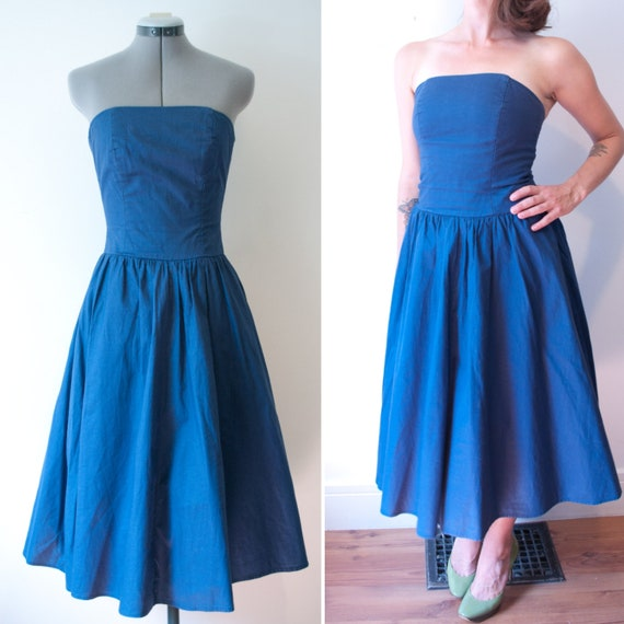 1980's Blue Denim Party Dress / Vintage Cotton For