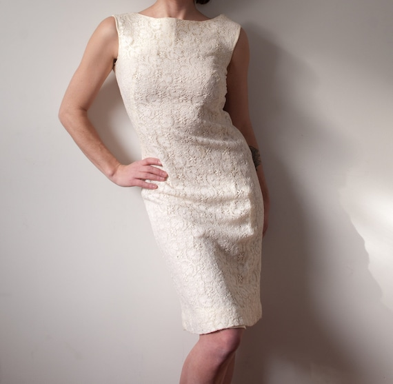 1970's White Lace Party Dress / Vintage Formal Wed