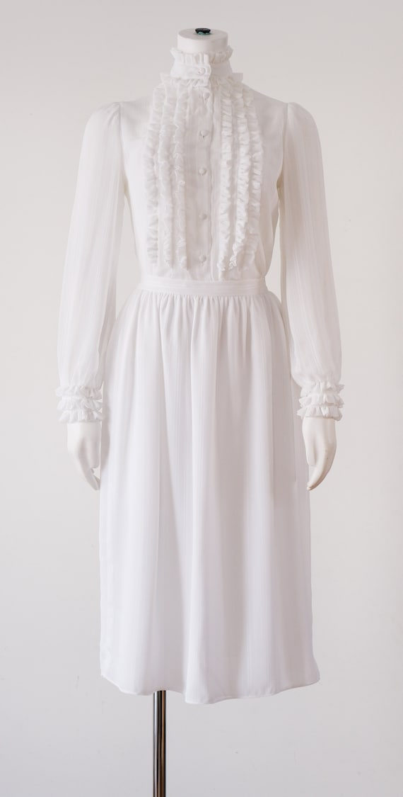 1970's White Blouse and Skirt Set / Vintage Ruffle