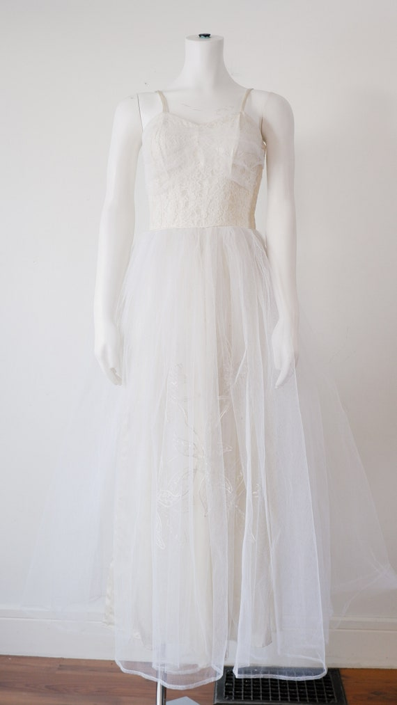 1950's White Prom Gown / Vintage Princess Satin Pa