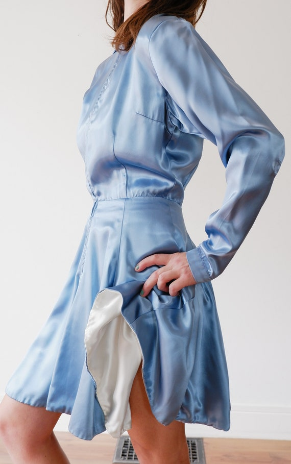 1950's Blue Satin Mini Dress / Vintage Long Sleeve