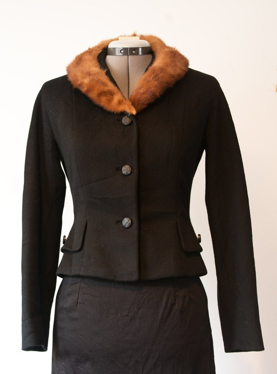 1960's Fur Trimmed Black Jacket / Vintage Wool Cro