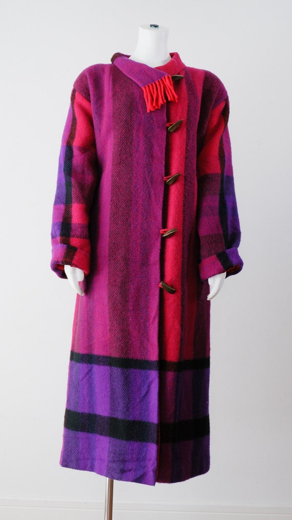 1980/'s Red and Purple Wool Coat  Vintage Handmade Color Block Jacket
