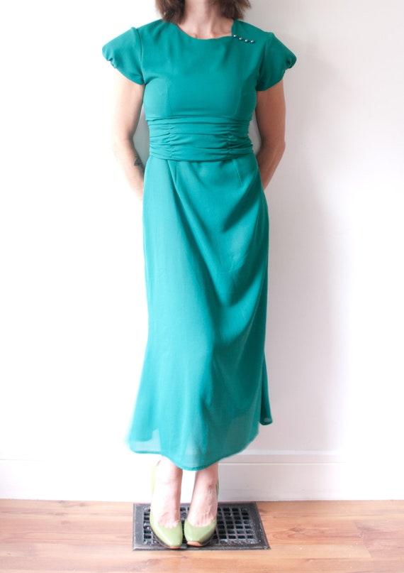 1960's Sheer Green Cocktail Dress / Vintage Short… - image 2