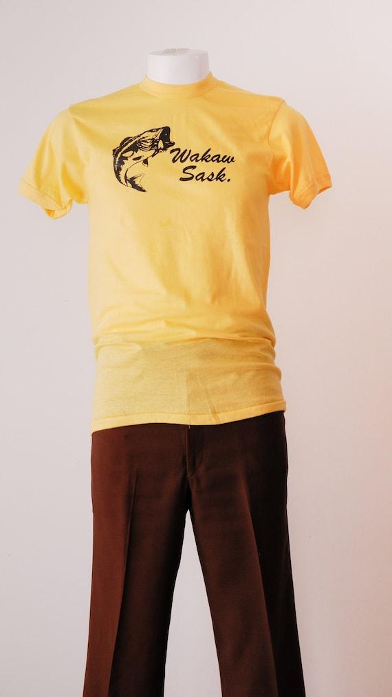 1970's Yellow Souvenir T Shirt / Vintage Wakaw Sas