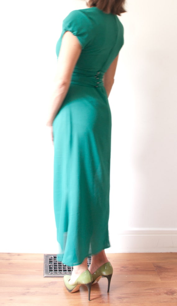 1960's Sheer Green Cocktail Dress / Vintage Short… - image 5