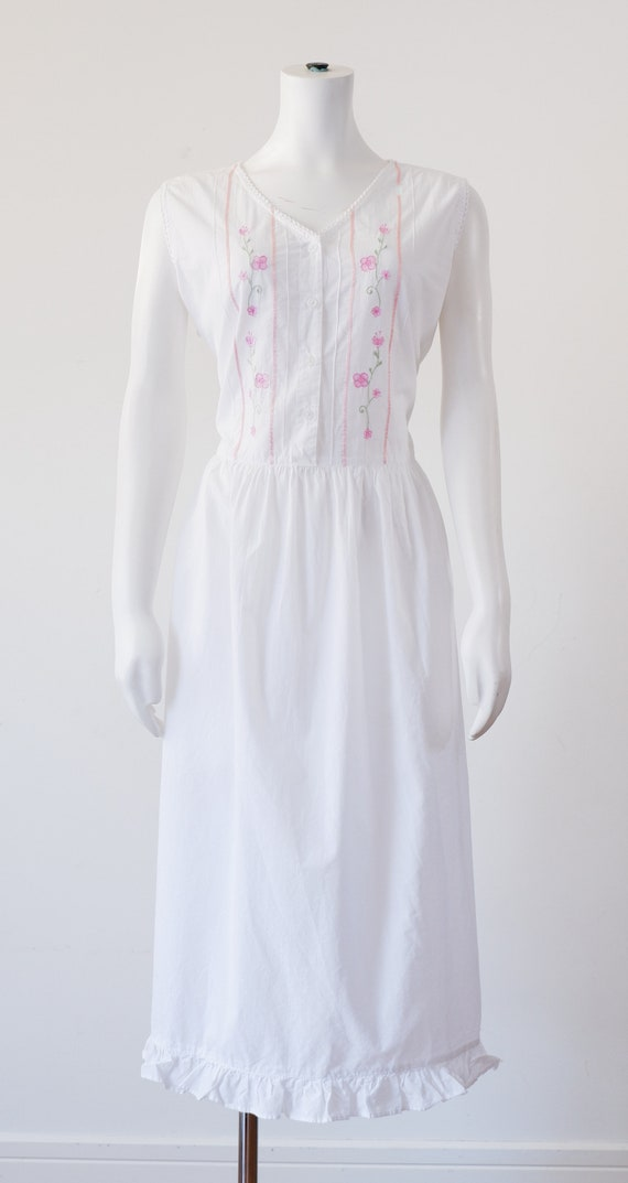 1980's White Cotton Night Gown / Vintage Night Dre