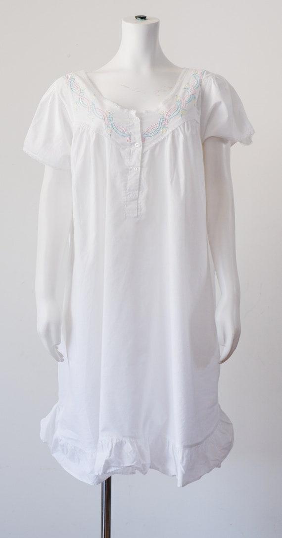 1970's White Cotton Night Gown / Vintage 1980's Ni