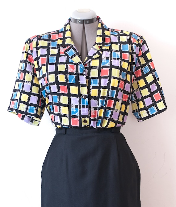 1980's Rainbow Checkered Blouse / Vintage Vibrant