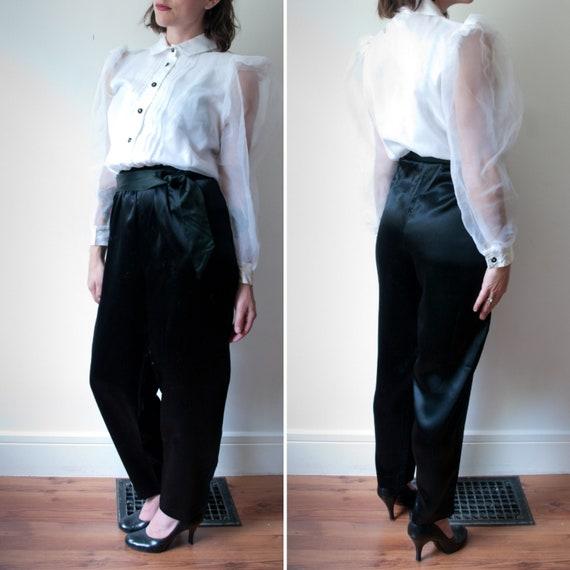 1980's White and Black Tuxedo Pant Suit / Vintage