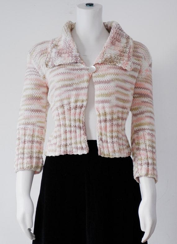 1970's Pink Cropped Cardigan / Vintage 1980's Crop