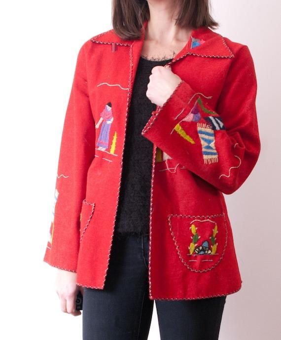 1940's Red Mexican Souvenir Jacket / Vintage Embro