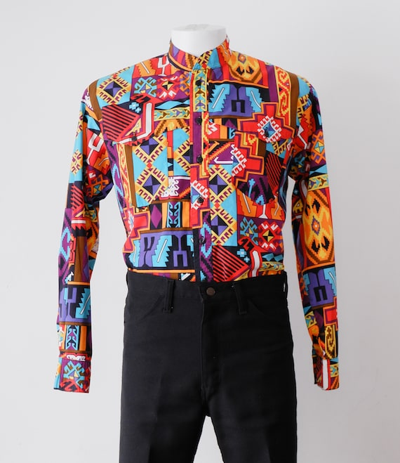 1990's Rainbow Western Shirt / Vintage South Weste