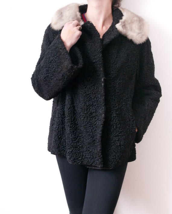 1950's Persian Wool Jacket with Silver Fur Collar