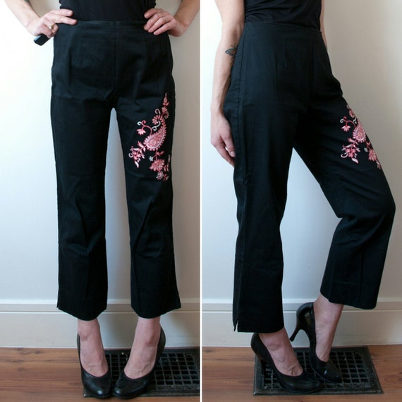 Vintage Black High Rise Cigarette Pant / 1990's Bl