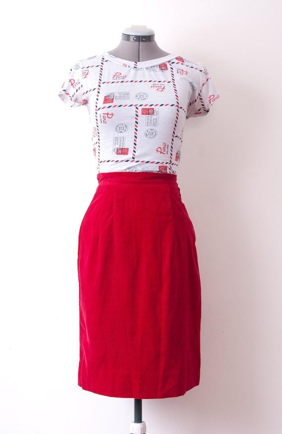 1940's Red Velvet Skirt / 1950's High Waist Pencil