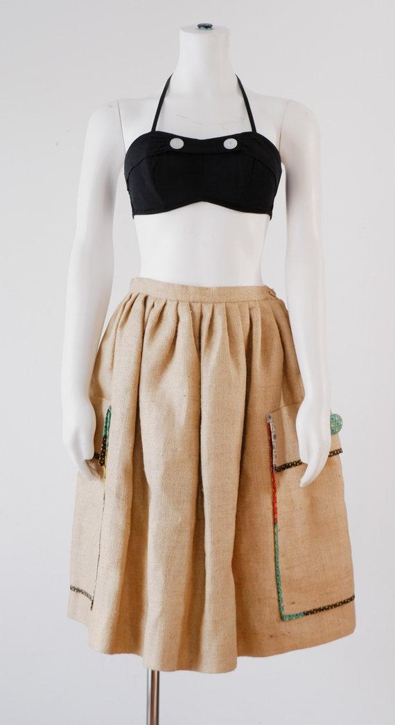 1970's Burlap Bag Skirt / Vintage Coffee Bag Skirt