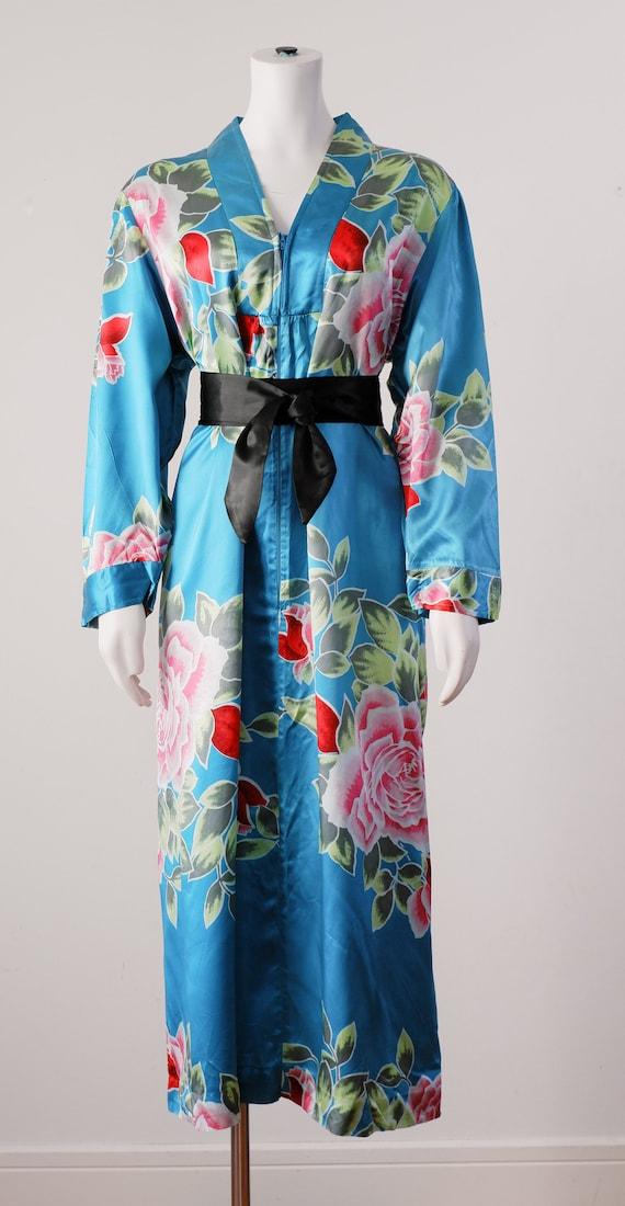 1980's Blue Silky Robe / Vintage Floral Kimono Sty