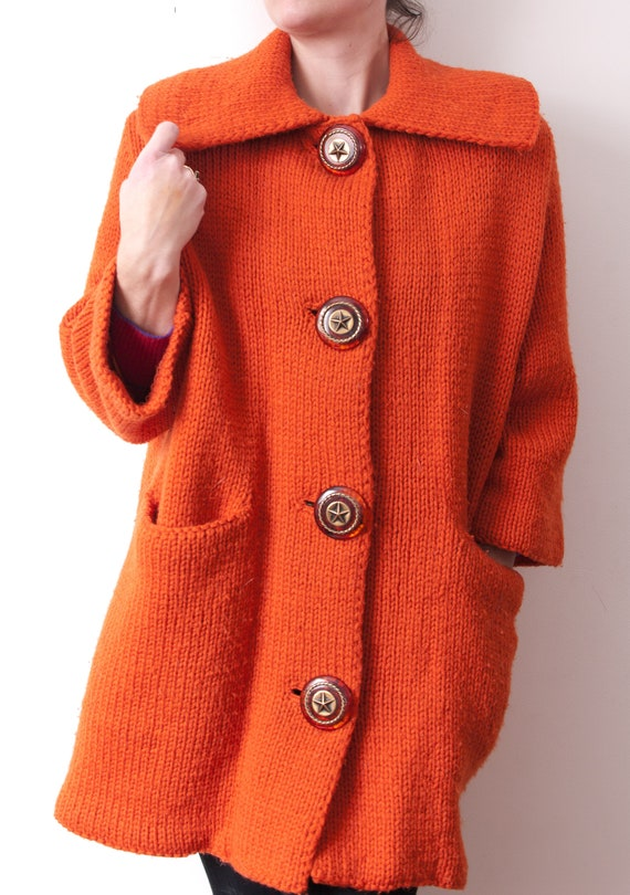 1950's Orange Wool Swing Coat / Vintage Oversized