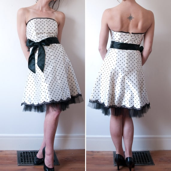 1990's White Polka Dot Party Dress / Vintage Gunne