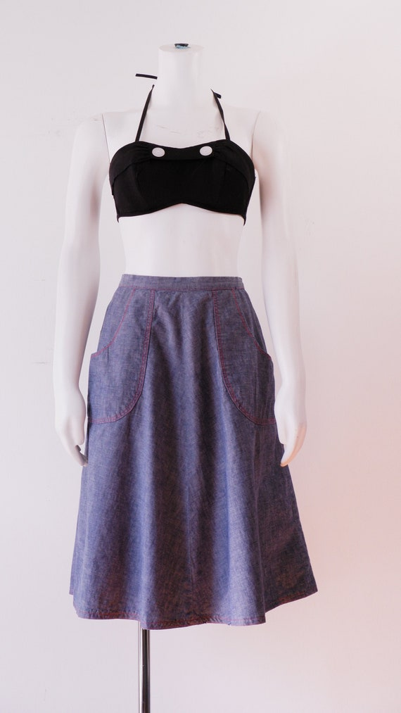 1970's Blue Cotton Skirt / Vintage Denim Wrap Skir