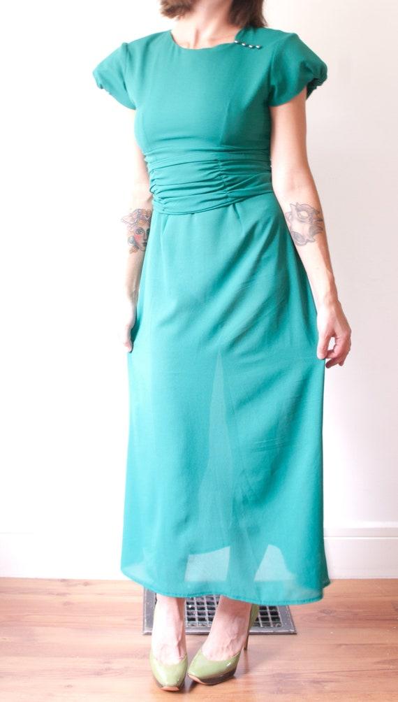 1960's Sheer Green Cocktail Dress / Vintage Short… - image 7