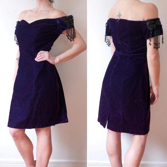 1980's Purple Velvet Party Dress / Vintage Beaded