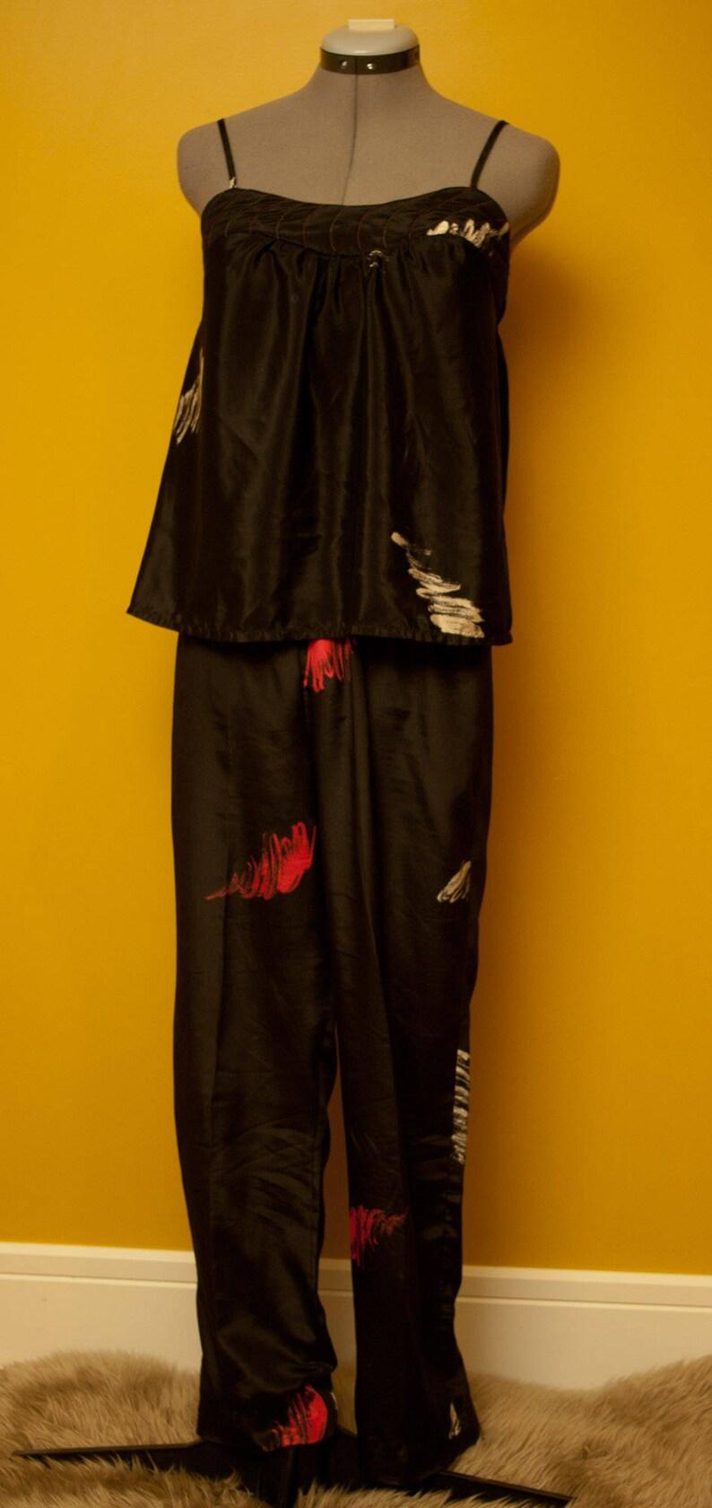 Mahogany Montreal 3 Piece Pajama Set Size SmallMed Vintage Kimono Style Sleep Set
