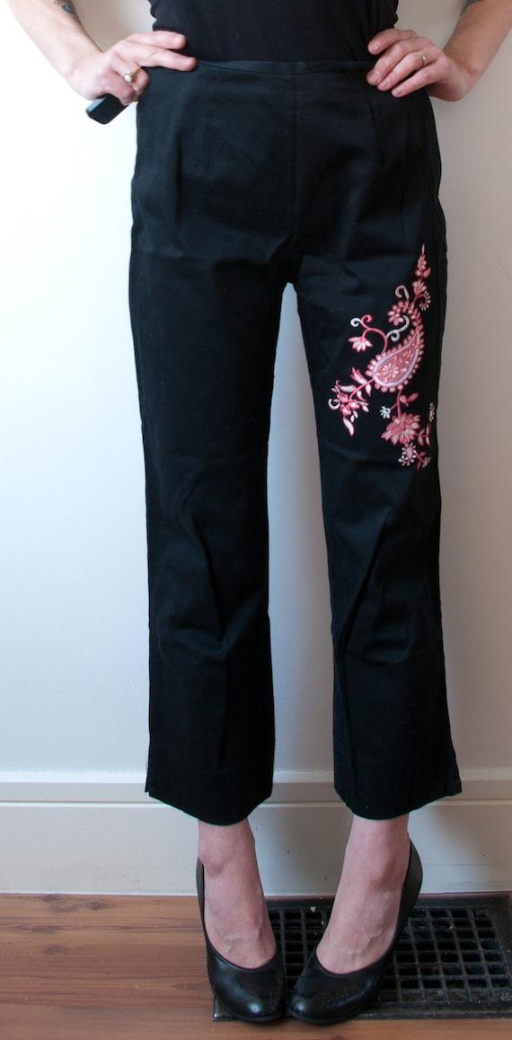 Vintage Black High Rise Cigarette Pant / 1990's B… - image 5