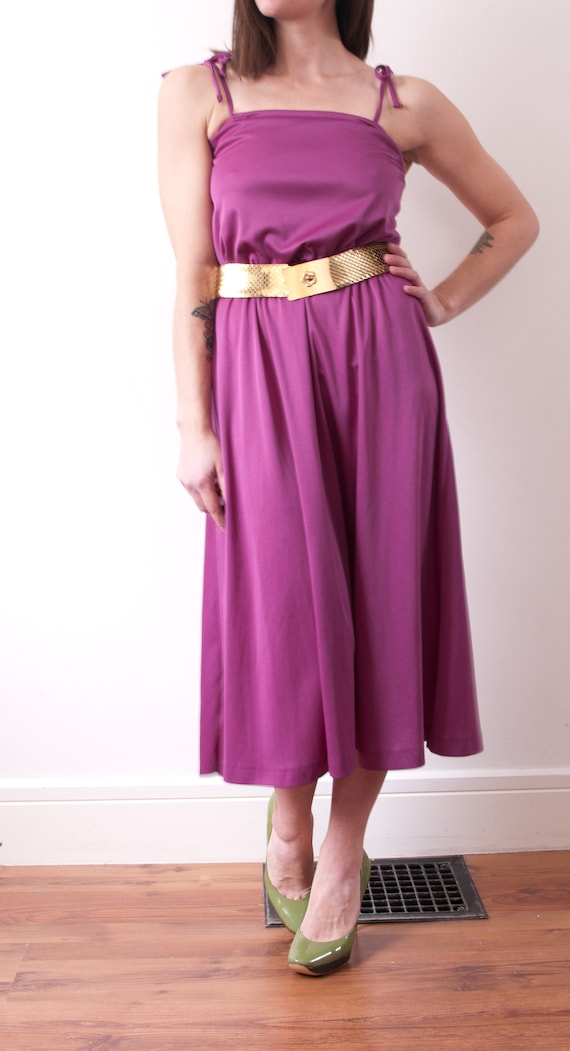 1970's Pleated Purple Midi Dress / Vintage Purple