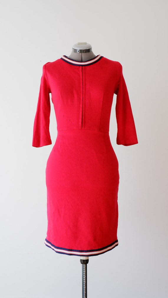 1950's Red Knit Dress / Vintage Long Sleeve Pencil