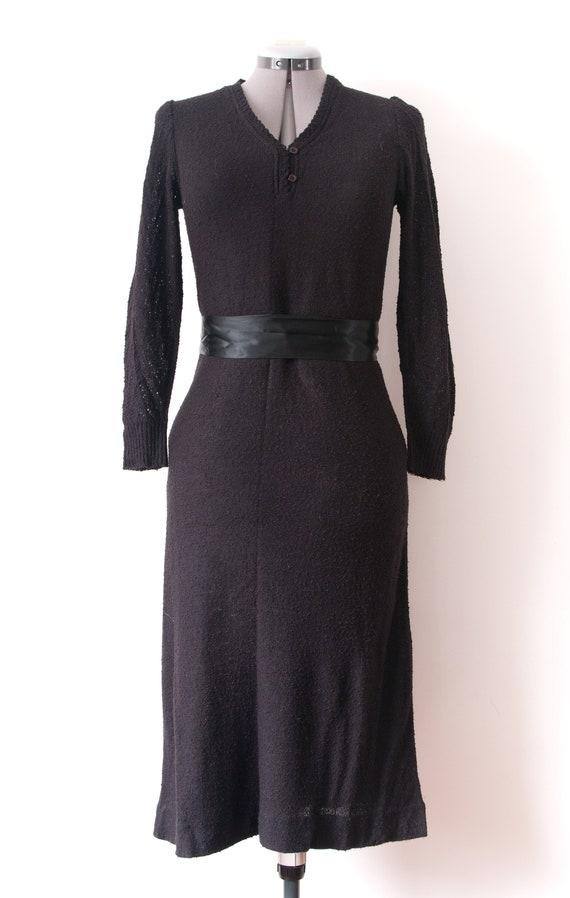 1960's Black Long Sleeve Dress / Vintage Knit V Ne