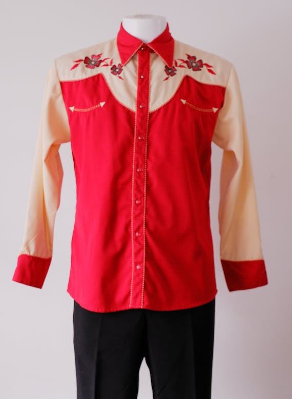 Vintage Red and Beige Western Shirt / 1990's Embro