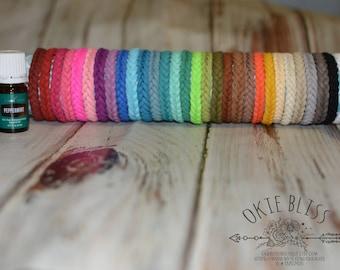 Essential Oil Diffuser Bracelets - You Choose 3 - Women Men Girls Boys - Braided Vegan Faux Suede Herringbone Diffusing Bracelets 3pc Set