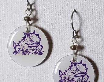 Texas Christian University Horned Frogs earrings, TCU Horned Frogs jewelry, TCU, school spirit jewelry