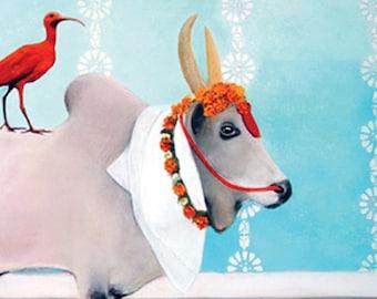 card - brahman bull, red ibis, blue, marigolds, garland, India, travel, special occasion , narrative, white, contemporary Australian art