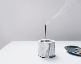 CARRARA marbling concrete multi-functional holder with brass / vase / candle & incense holder