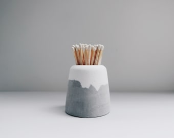 SNOW VOLCAN two layers concrete vase / matchstick holder / pot for Air plants,Succulent,Cacti (L)