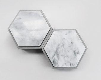 THE ROCK hexagon concrete box with White marble lid / Jewelry box / Minimalist Home Decor