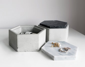 THE ROCK hexagon concrete box with Black marble lid / Jewelry box / Minimalist Home Decor
