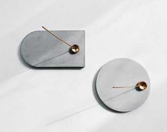 MIST arched concrete incense holder with brass / jewelary dish /