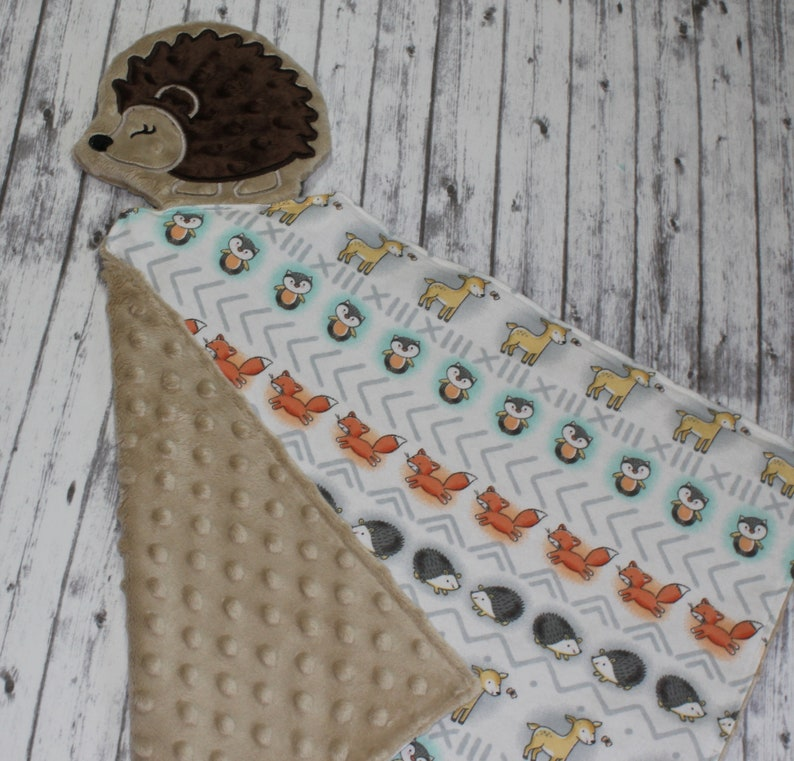 Soft Cotton Flannel Shower Gift Hedgehogs and Flowers Cute Woodland Animals Set of 2 Baby Burp Cloths