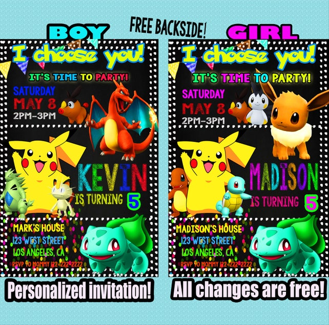 pokemon invitation pokemon invite pokemon invitations etsy