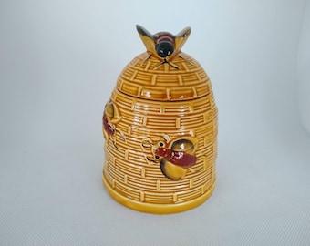 Vintage glazed ceramic honey keeper bee hive Made in Japan