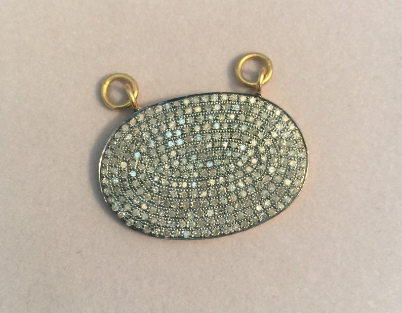 Pave Diamond Oval Pendant with Gold Vermeil Pave Diamond Pendant 925 Sterling Silver 20x29mm PDP37